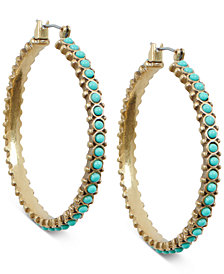 Lucky Brand Gold-Tone Stone Bead Hoop Earrings
