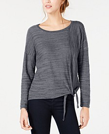 Petite Tie-Front Marled Top