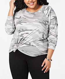 Trendy Plus Size Camo-Print Sweatshirt