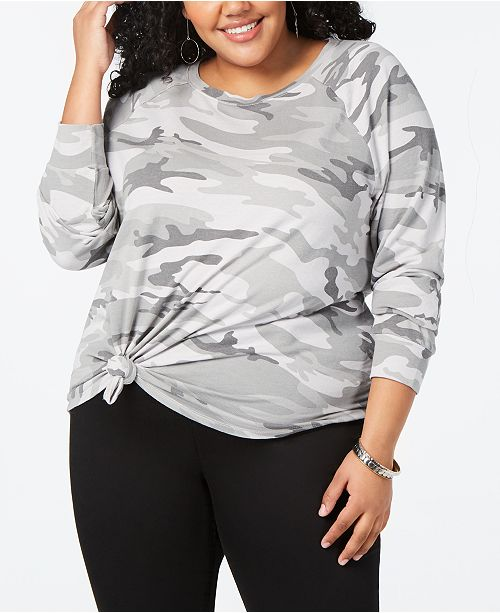 334fda11b0d4ae Love Tribe Trendy Plus Size Camo-Print Sweatshirt & Reviews - Trendy ...