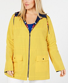 Plus Size Reversible Hooded Anorak Jacket, Created for Macy's