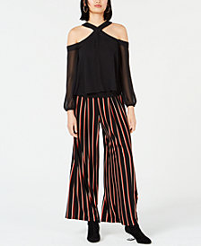 Bar III Cold-Shoulder Top & Striped Pants, Created for Macy's