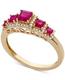 Certified Ruby (3/4 ct. t.w.) & Diamond (1/6 ct. t.w.) Ring in 14k Gold (Also Available in Emerald & Sapphire)