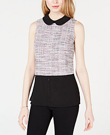 Maison Jules Layered-Look Tweed Top, Created for Macy's
