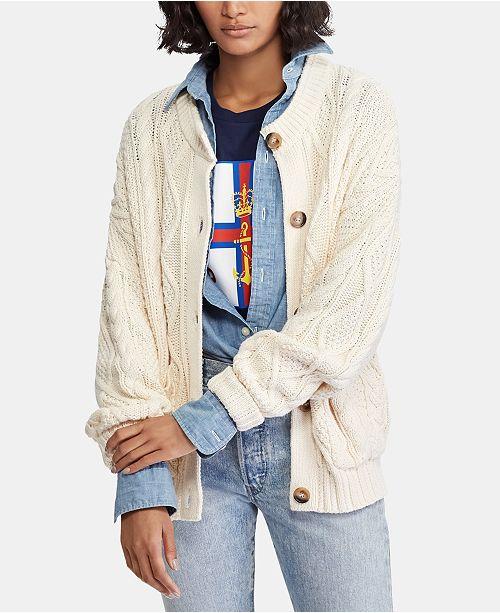 e826a51c6 Polo Ralph Lauren Cable-Knit Cotton Cardigan   Reviews - Sweaters ...