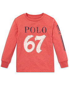 Polo Ralph Lauren Toddler Boys Logo Graphic Long-Sleeve Cotton T-Shirt