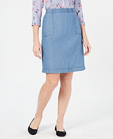 Cotton Chambray Pull-On Skirt, Created for Macy's
