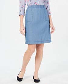 Karen Scott Cotton Chambray Pull-On Skirt, Created for Macy's