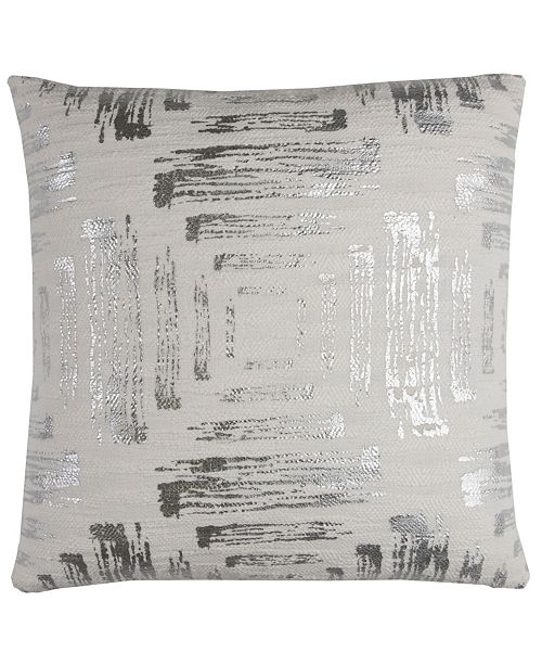 "Rizzy Home 20"" x 20"" Textured Abstract Foil Print Pillow Down Filled"