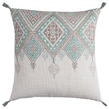 """Rizzy Home 20"""" x 20"""" Tribal Aztec Design with Tassels Down Filled Pillow"""