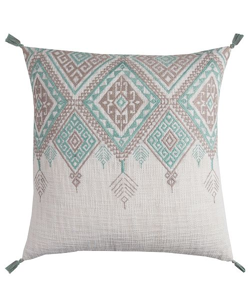 "Rizzy Home 20"" x 20"" Tribal Aztec Design with Tassels Down Filled Pillow"