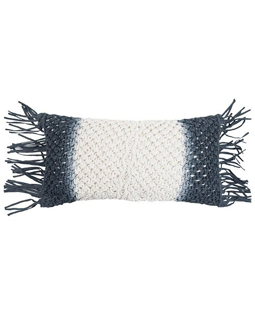 """Rizzy Home 11"""" x 21"""" Macrame Down Filled Pillow"""