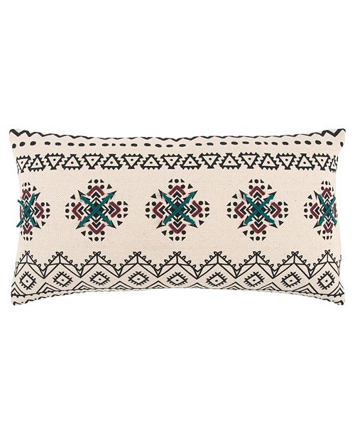 """Rizzy Home 14"""" x 26"""" Tribal Design Down Filled Pillow"""
