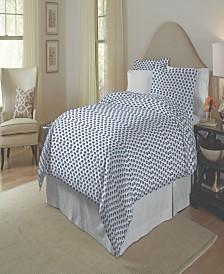 Pointehaven 200 Thread Count Cotton Percale Printed Duvet Set Full Queen