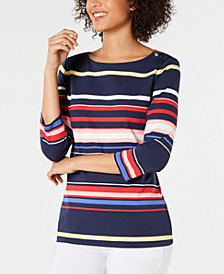 Charter Club Striped Boat-Neck Top, Created for Macy's