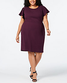 Love Squared Trendy Plus Size Flutter-Sleeve Dress