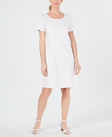 Karen Scott Petite Cotton Seam-Detail Dress, Created for Macy's