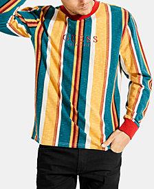 GUESS Men's Long-Sleeve Striped T-Shirt