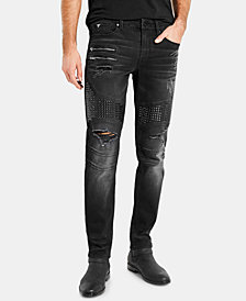 GUESS Men's Black Moto Slim-Fit Jeans
