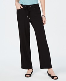 JM Collection Crinkle Texture Wide-Leg Drawstring Pants, Created for Macy's