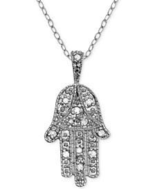 "Diamond Hamsa Hand 18"" Pendant Necklace (1/10 ct. t.w.) in Sterling Silver"