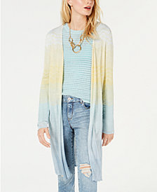 I.N.C. Metallic Chevron-Knit Open-Front Cardigan, Created for Macy's