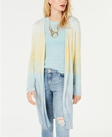 I.N.C. Petite Metallic Chevron-Knit Open-Front Cardigan, Created for Macy's
