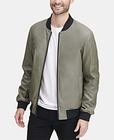 Men's Soft Faux-Leather Bomber Jacket, Created for Macy's
