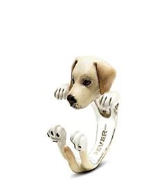 Labrador Retriever Hug Ring in Sterling Silver and Enamel
