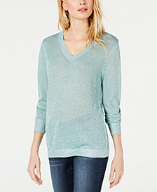 I.N.C. Petite Metallic V-Neck Pullover Sweater, Created for Macy's