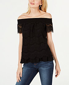 I.N.C. Off-The-Shoulder Lace Top, Created for Macy's
