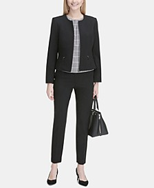 Collarless Blazer, Pleated Top & Straight-Leg Pants