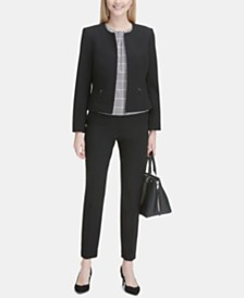 Calvin Klein Collarless Blazer, Pleated Top & Straight-Leg Pants