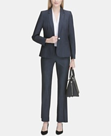 Calvin Klein One-Button Blazer, Pleated Blouse & Trousers
