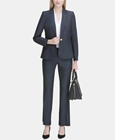 Calvin Klein One-Button Blazer, Pleated Blouse & Trousers