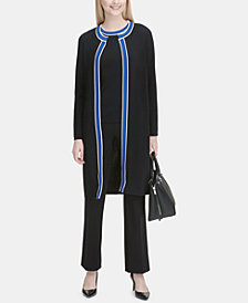 Calvin Klein Varsity-Stripe Jacket, Striped Top & Trousers
