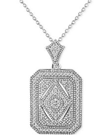 "Diamond (1/5 ct. t.w.) Tile 18"" Pendant Necklace in Sterling Silver"