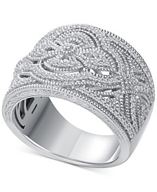 Diamond (1/3 ct. t.w.) Braided Wide Band Ring in Sterling Silver
