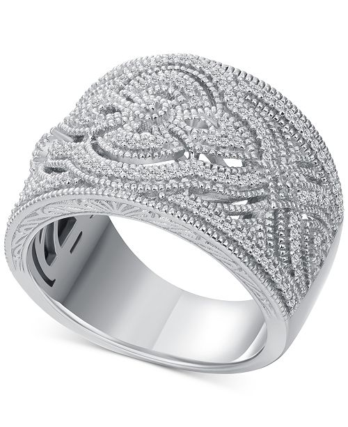 9143ea6bf ... Macy's Diamond (1/3 ct. t.w.) Braided Wide Band Ring in Sterling ...