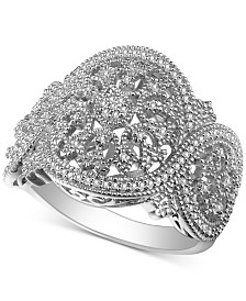 Diamond (1/3 ct. t.w.) Medallion Statement Ring in Sterling Silver