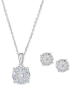 "2-Pc. Diamond Halo 18"" Pendant Necklace & Matching Stud Earring Set (1 ct. t.w.) in 14k White Gold"