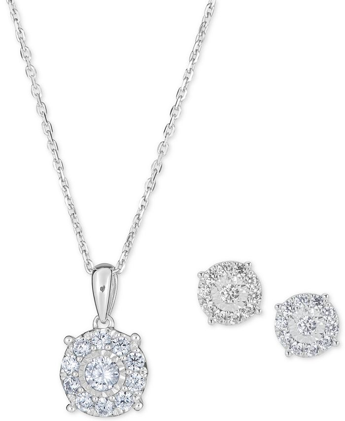 """Macy's - 2-Pc. Diamond (1 ct. t.w.) Halo 18"""" Pendant Necklace & Matching Stud Earring Set in 14k Gold"""
