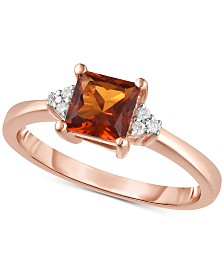 Citrine (3/4 ct. t.w.) & Diamond Accent Ring in 14k Rose Gold