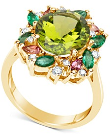 Multi-Gemstone (5-1/2 ct. t.w.) & Diamond (1/5 ct. t.w.) Ring in 14k Gold