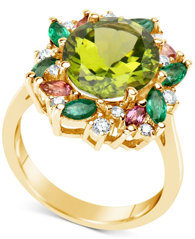 Macy's Multi-Gemstone (5-1/2 ct. t.w.) & Diamond (1/5 ct. t.w.) Ring in 14k Gold