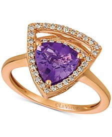 Grape Amethyst (1-5/8 ct. t.w.) & Vanilla Diamond (1/4 ct. t.w.) Statement Ring in 14k Rose Gold