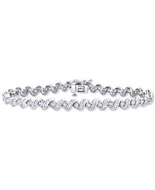 Diamond Swirl Link Bracelet (1 ct. t.w.) in Sterling Silver