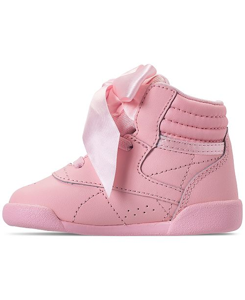 9841d6ef4c075 ... Reebok Toddler Girls  Freestyle High Top Satin Bow Casual Sneakers from  Finish ...
