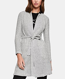 Belted Jacquard Jacket With Faux-Leather Trim