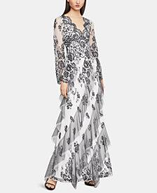 BCBGMAXAZRIA Floral-Lace Gown